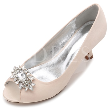 Rhinestone Peep Toe Slip On Women's Bridal Shoes