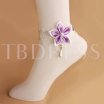 Diamante Lace Imitation Pearl Anklet