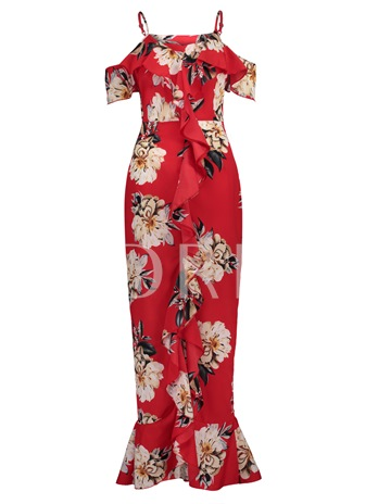 Floral Print Falbala Patchwork Vacation Women's Maxi Dress
