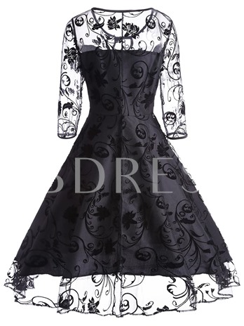 Black See-Through Women's Day Dress