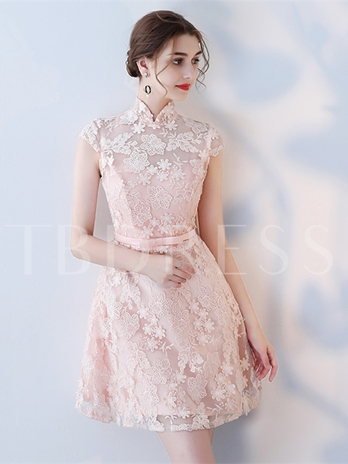 High Neck A-Line Cap Sleeves Appliques Bowknot Sashes Homecoming Dress