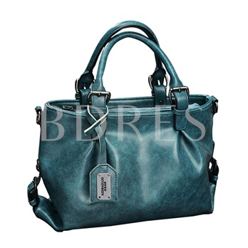 Vintage Solid Color Pleated Zipper Tote