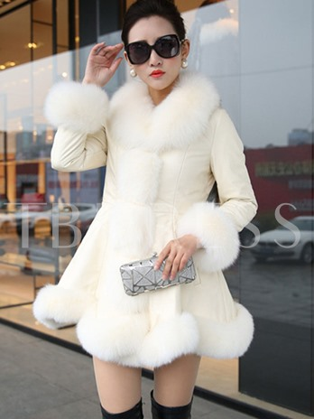 Wide Faux Fur Lapel PU Mid-length Women's Overcoat