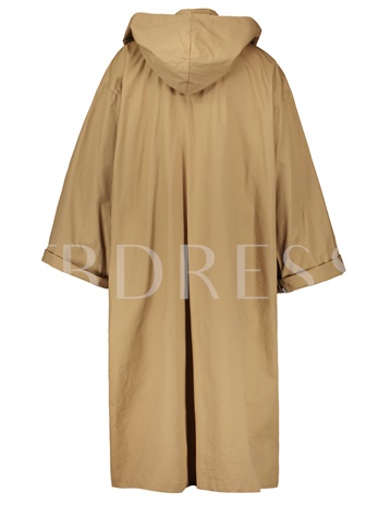 Loose Hooded Plain Women's Trench Coat