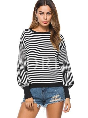 Round Neck Loose Stripe Pullover Women's Sweater