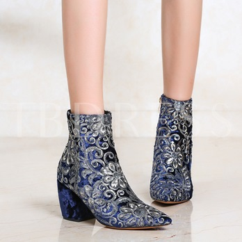Embroidery Sequin Chunky Heel Women's Ankle Boots