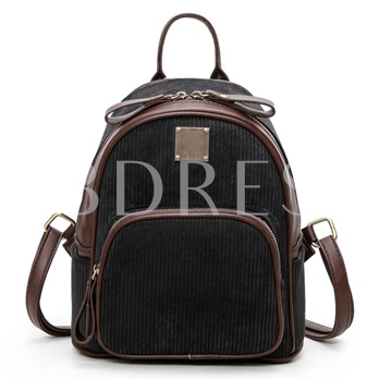 Casual Solid Color Zipper Corduroy Backpack