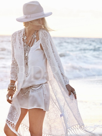 Long Sleeve Hollow Tassel Cover-Up