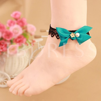 Lace Bowknot Synthetic Pearl Anklet