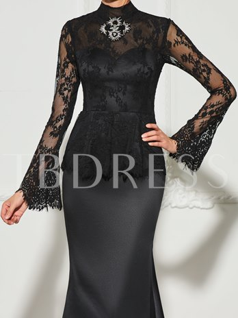 High Neck Beading Button Lace Long Sleeves Sweep Train Evening Dress