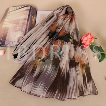 Voile Printing Color Block Rural Style Scarfs