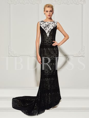 Mermaid Bateau Button LaceSweep Train Evening Dress