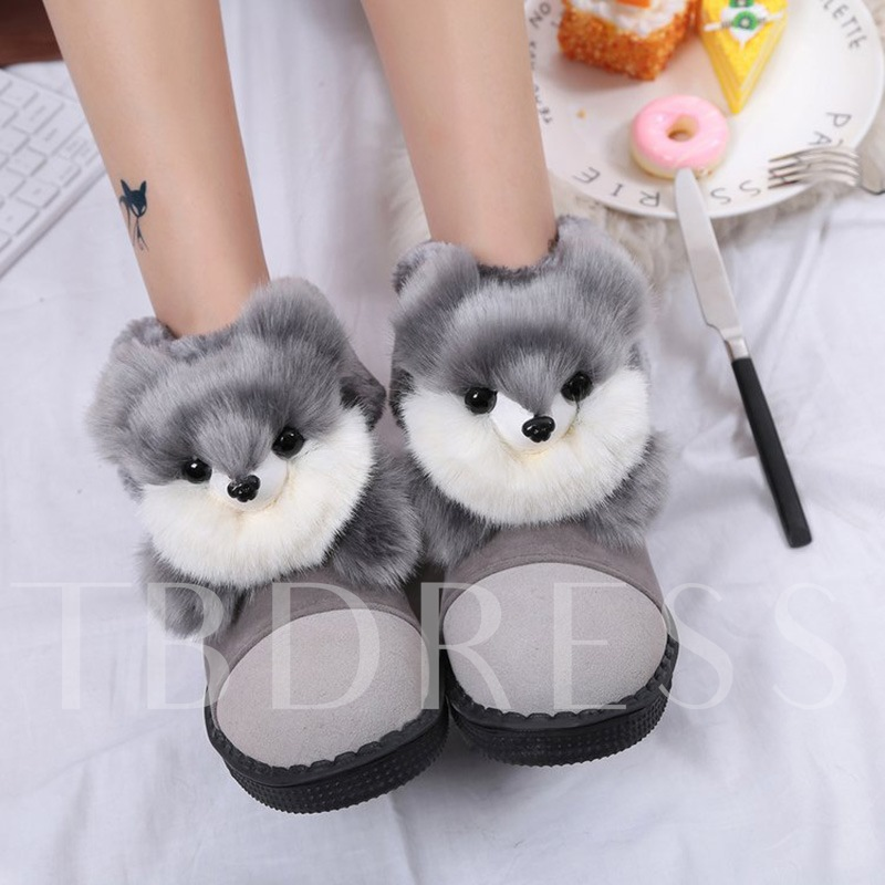 Cute Animal Design Plush Women's Snow Boots