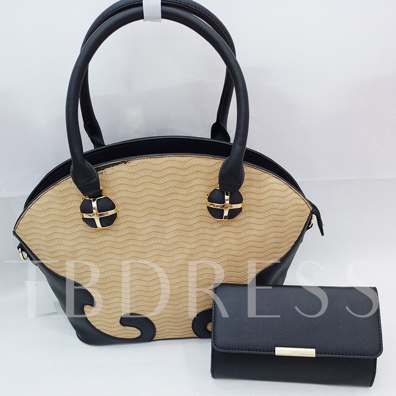 Fashion Color Block Embossing Women Bag Set