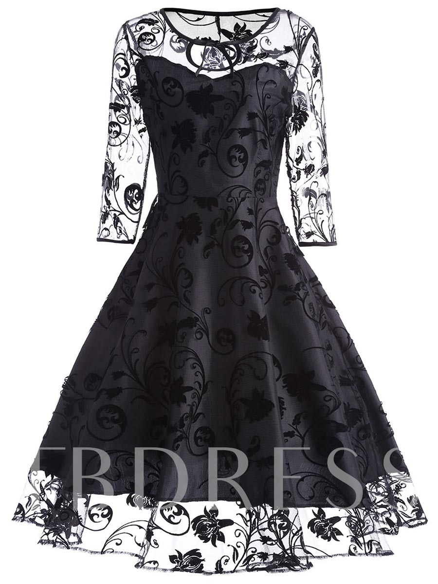 Black See-Through Women's Day Dress, 12984635