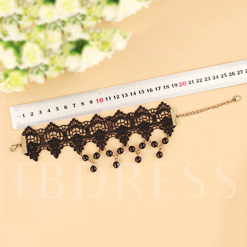 Hollow Out Gothic Rhinestone Lace Anklet