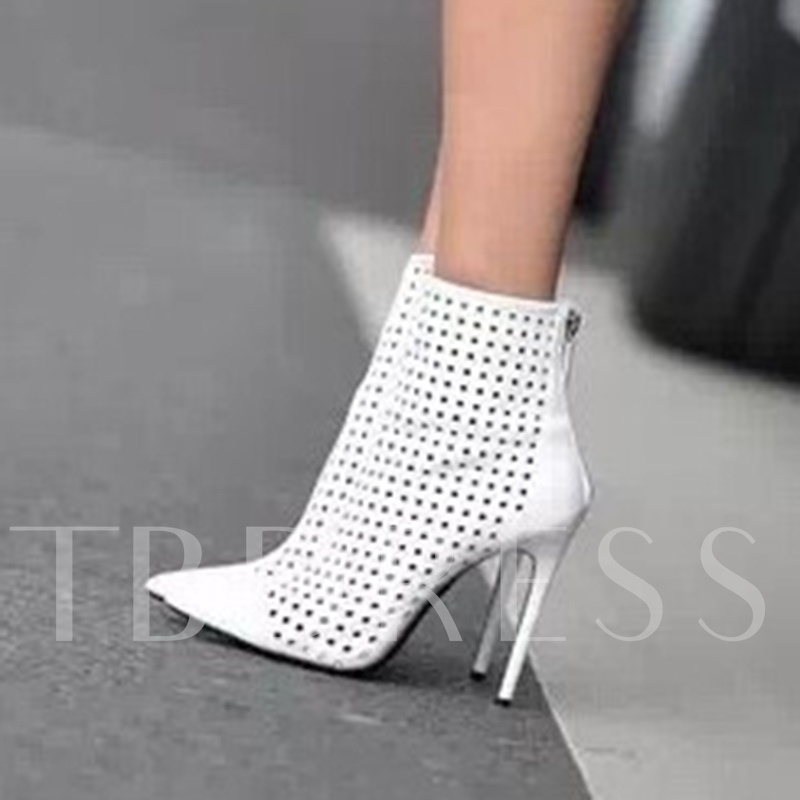 Back Zipper Hollow Women's White Ankle Boots