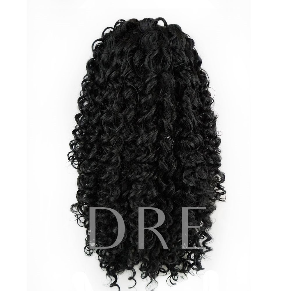 Sexy Curly Long Synthetic Hair Lace Front Cap African American Wigs 24 Inches