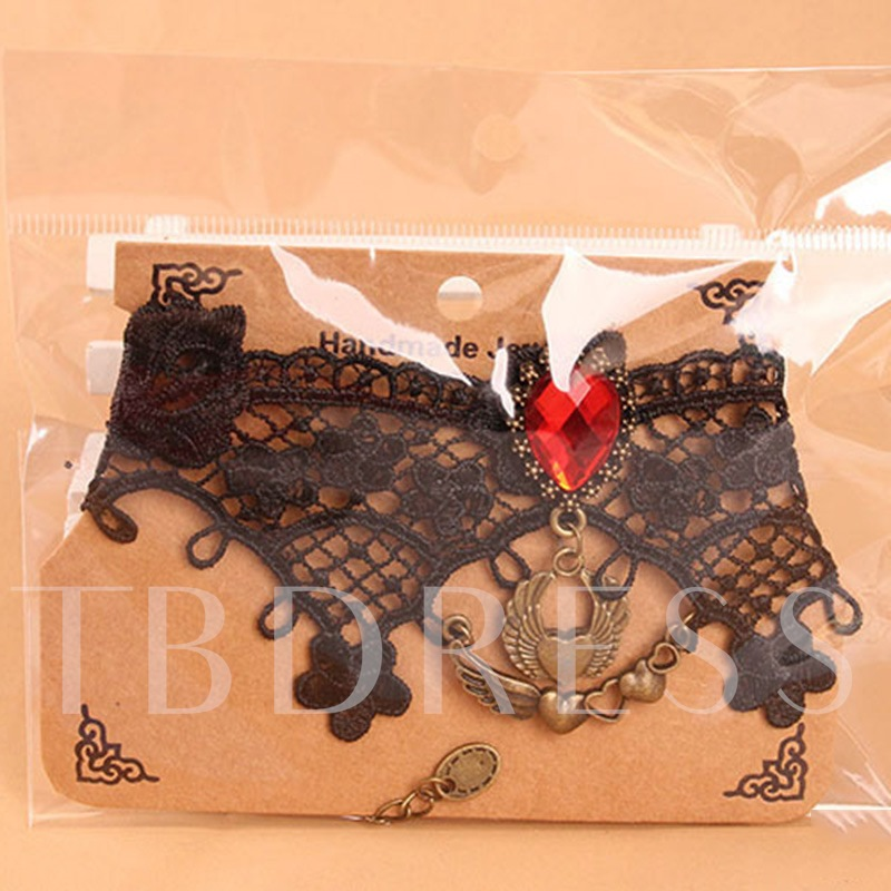 Gothic Rhinestone Lace Heart Anklet