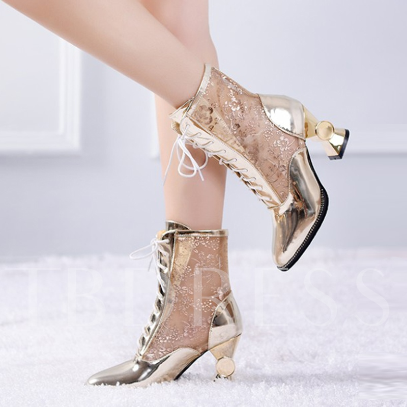 Shaped Heel See Through Lace Floral Women's Ankle Boots Party Shoes