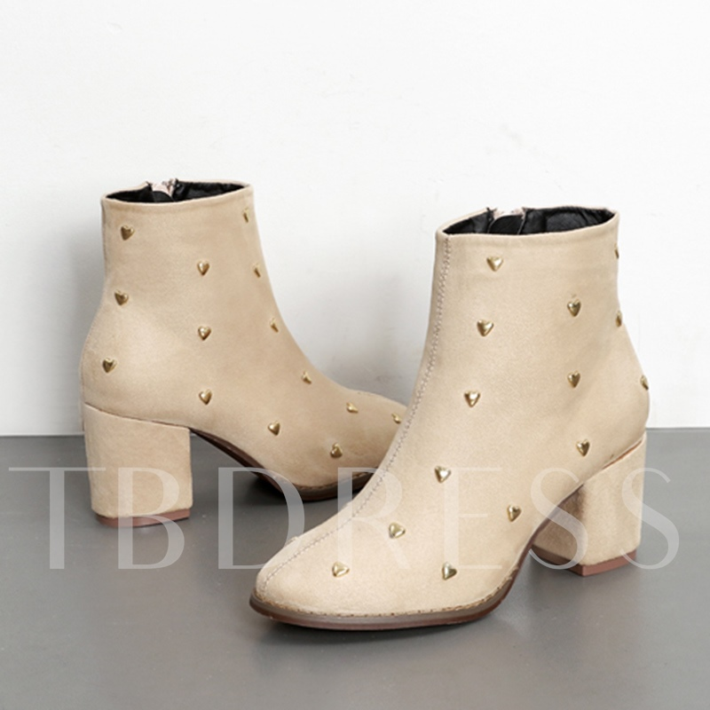Heart Shaped Rivet Solid Suede Chunky Heel Women's Boots
