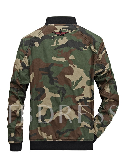 Stand Collar Camouflage Zipper Slim Fit Casual Men's Winter Jacket