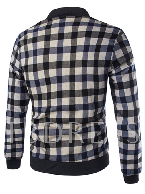 Stand Collar Classic Plaid Slim Fit Men's Casual Jacket