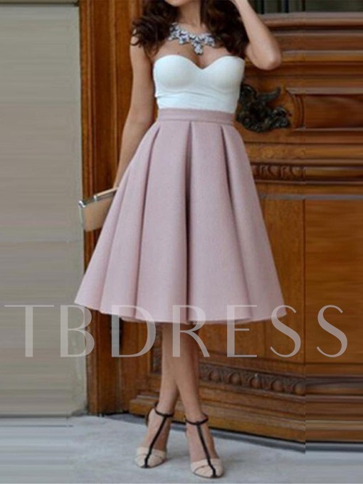 Strapless Pleated Women's Day Dress