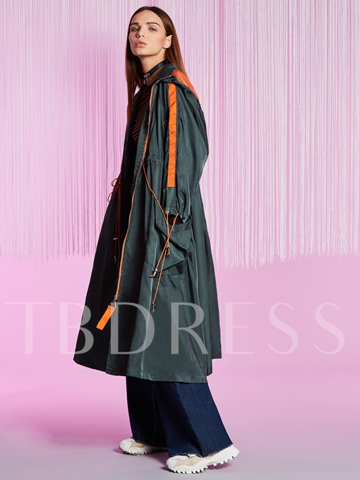 Loose Drawstring Hooded Women's Trench Coat
