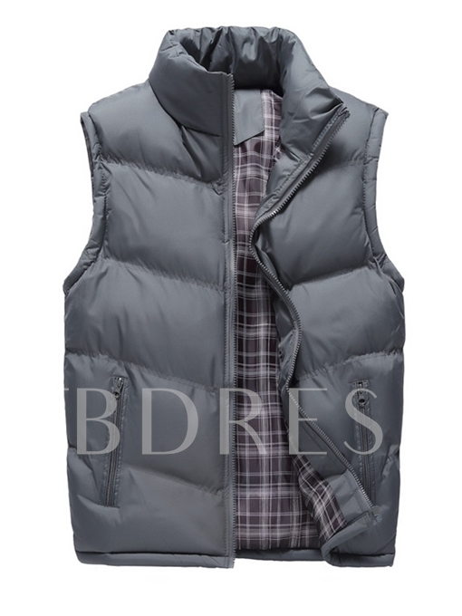 Stand Collar Thicken Warm Zipper Plain Men's Winter Vest