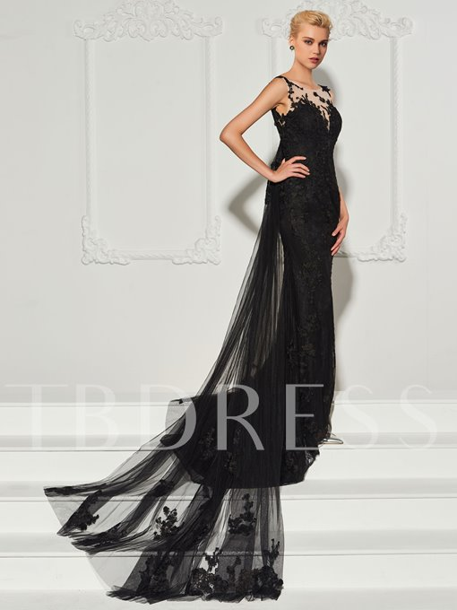 Bateau Sheath Lace Backless Watteau Train Evening Dress