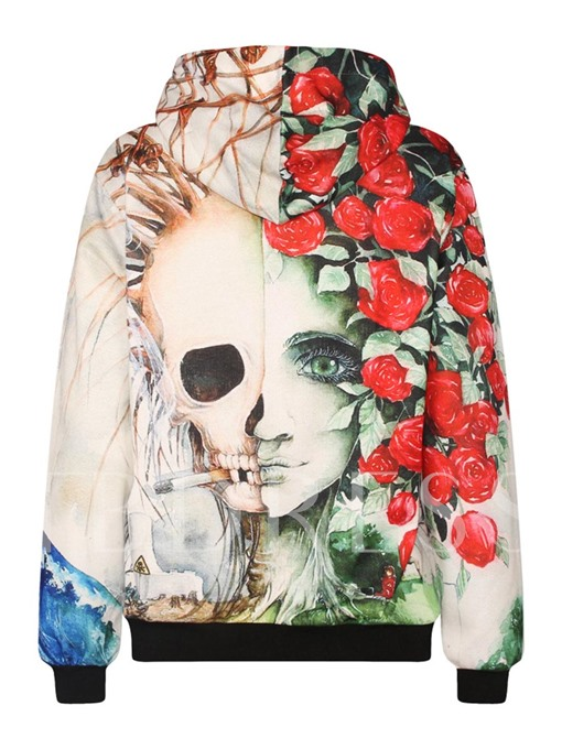 Hooded Floral and Skull Printed Loose Women's Hoodie