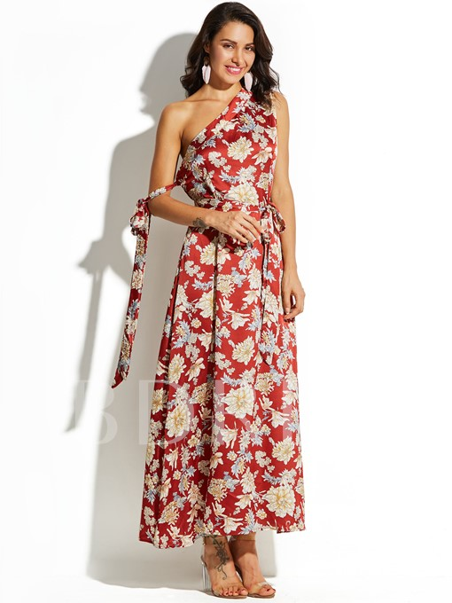 Red One Shoulder Floral Vacation Women's Maxi Dress