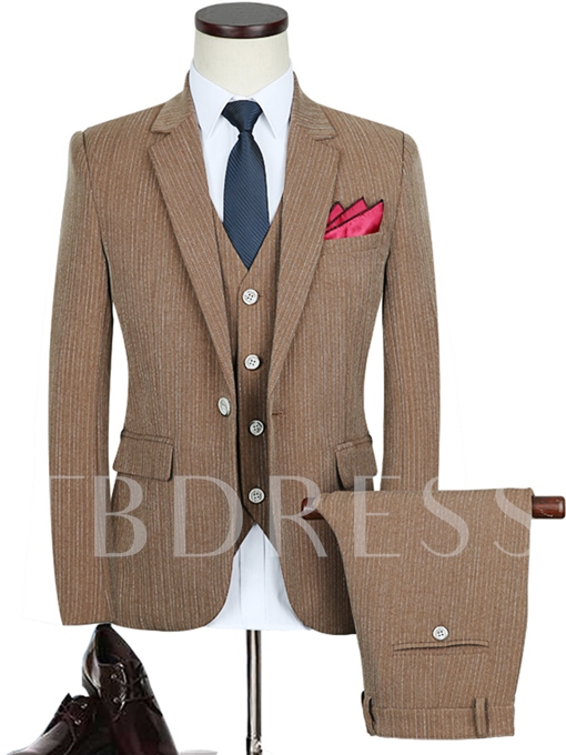 Notched Collar Camel Solid Color One Button Slim Fit Men's Dress Suit