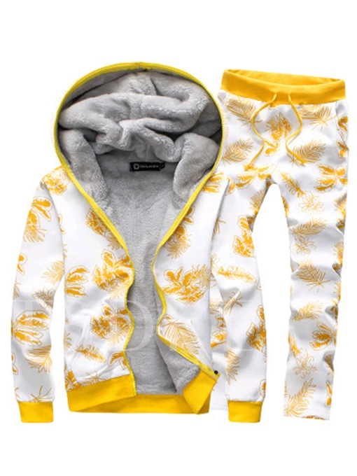 Hooded Thicken Warm Floral Printed Lace-up Slim Fit Men's Sports Suit