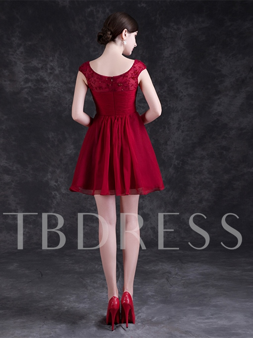A-Line Cap Sleeves Scoop Lace Pleats Mini Homecoming Dress