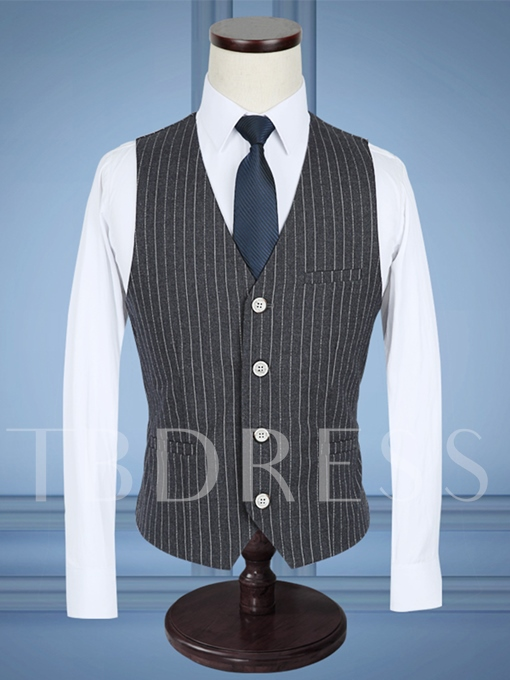 Notched Collar Gary A Three-Piece Stripe Printed Slim Fit Men's Dress Suit