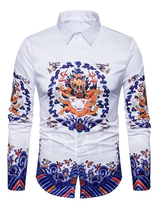 Lapel Chinese Style Ethnic Dragon Printed Slim Fit Men's Shirt