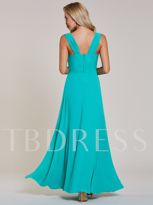 Square Neck Appliques A Line Evening Dress