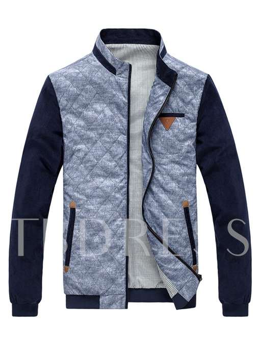 Stand Collar Jacquard Raglan Sleeve Side Pocket Slim Fit Men's Casual Jacket
