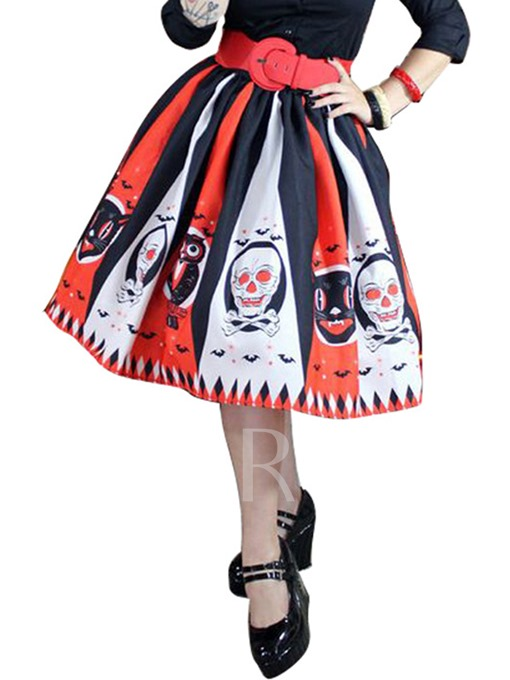 Halloween Pleated Clown Print Women's Skirt