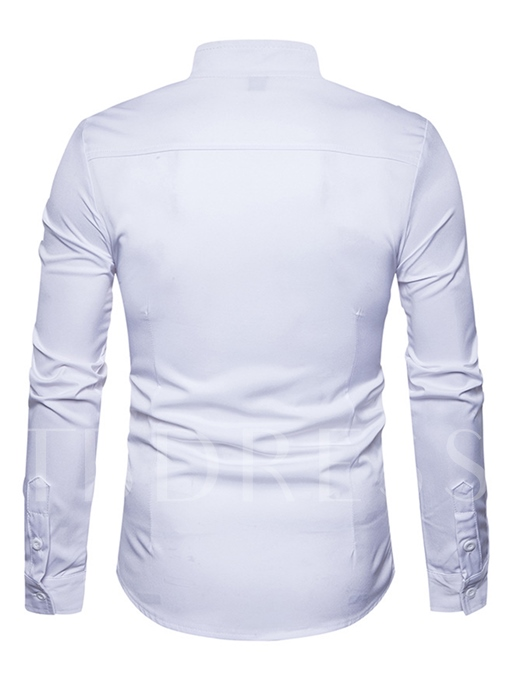 Stand Collar Inclined Closure Solid Color Slim Fit Plain Men's Shirt