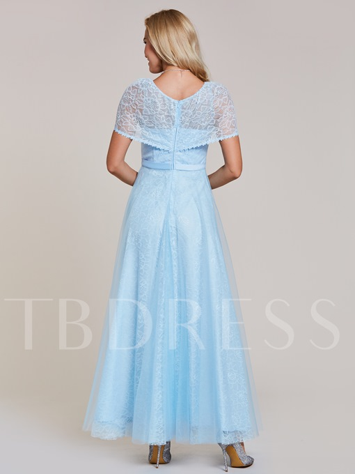Scoop Neck Lace A-Line Floor-Length Evening Dress