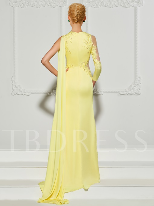 A-Line High Neck Long Sleeves Appliques Beading Split-Front Evening Dress