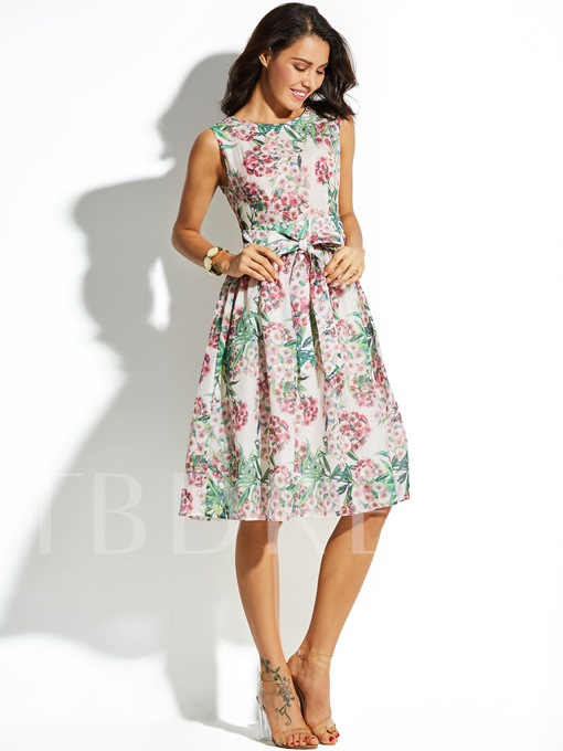 Lace up Floral Sleeveless Vacation Women's Day Dress