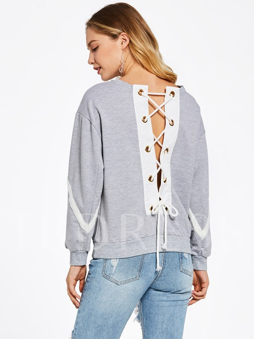 Color Block Lace-Up Pullover Women's Sweatshirt