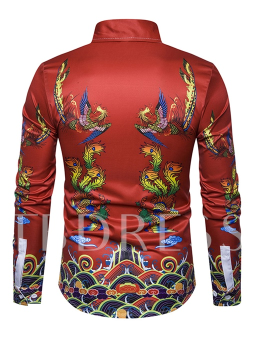 Chinese Style Lapel Dragon Print Red Slim Fit Men's Shirt