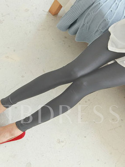 Candy Color Slim Faux Leather Pencil Women's Leggings