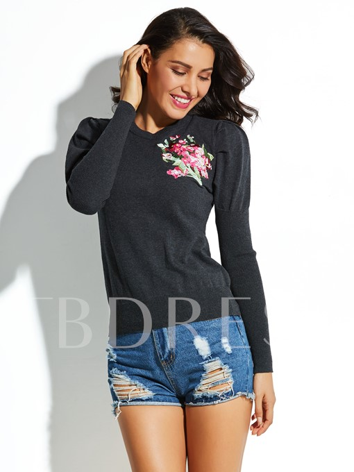 Solid Color Smocked Long Sleeve Slim Women's Sweater