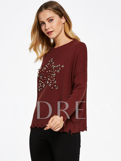 Hollow Beading Decorative Pullover Women's Sweater